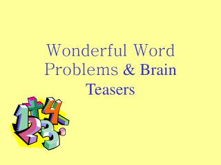 Wonderful Word Problems  Brain Teasers