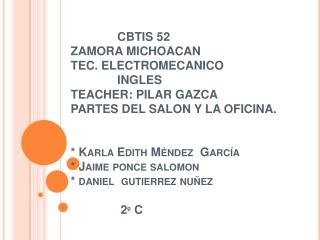 CBTIS 52 ZAMORA MICHOACAN TEC. ELECTROMECANICO               INGLES TEACHER: PILAR GAZCA PARTES DEL SALON Y LA OFICINA.