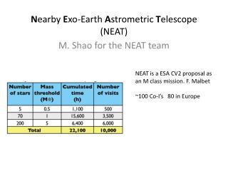 Nearby Exo-Earth Astrometric Telescope NEAT