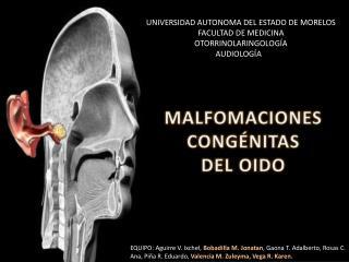 UNIVERSIDAD AUTONOMA DEL ESTADO DE MORELOS FACULTAD DE MEDICINA OTORRINOLARINGOLOG A AUDIOLOG AR
