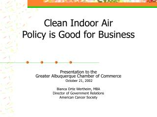 Clean Indoor Air  Policy is Good for Business