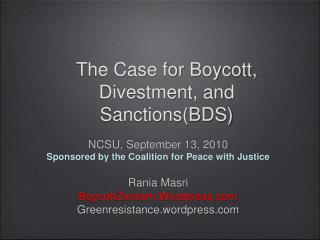 The Case for Boycott, Divestment, and SanctionsBDS