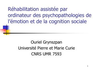 R habilitation assist e par ordinateur des psychopathologies de l  motion et de la cognition sociale