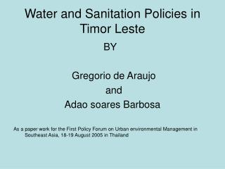 Water and Sanitation Policies in Timor Leste