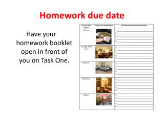 Homework due date