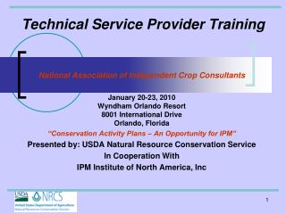 Technical Service Provider Training