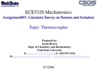 ECE5320 Mechatronics Assignment01: Literature Survey on Sensors and Actuators   Topic: Thermocouples