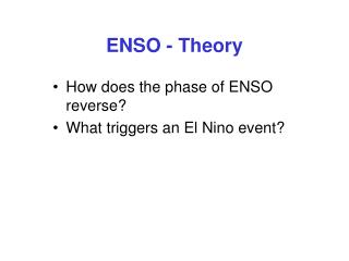 ENSO - Theory