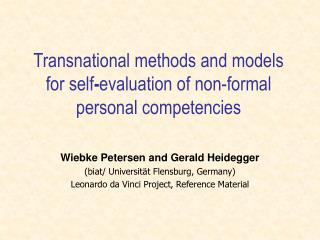 Transnational methods and models for self-evaluation of non-formal personal competencies