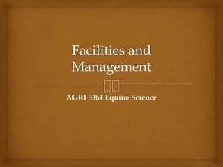Facilities and Management