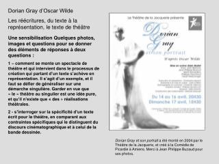 Dorian Gray d Oscar Wilde Les r  critures, du texte   la repr sentation, le texte de th  tre