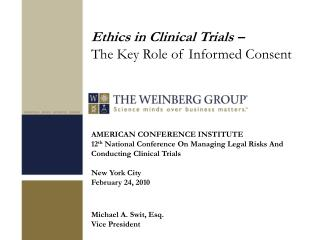 AMERICAN CONFERENCE INSTITUTE 12th National Conference On Managing Legal Risks And Conducting Clinical Trials  New York