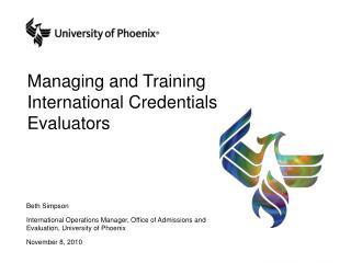 Managing and Training International Credentials Evaluators