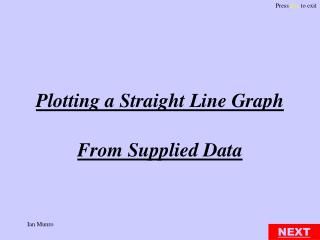 Plotting a Straight Line Graph