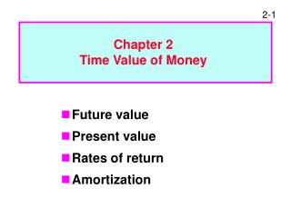 Future value Present value Rates of return Amortization