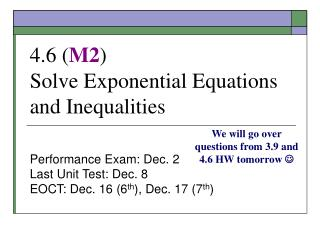 4.6 M2 Solve Exponential Equations and Inequalities
