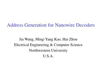 Address Generation for Nanowire Decoders