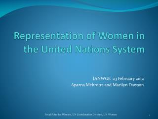 Representation of Women in the United Nations System
