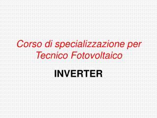 Corso di specializzazione per Tecnico Fotovoltaico
