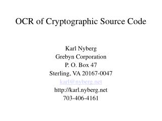 OCR of Cryptographic Source Code