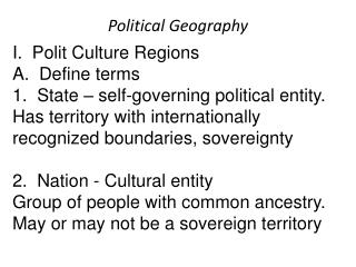 Ch. 8   Political Geography