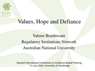 Values, Hope and Defiance