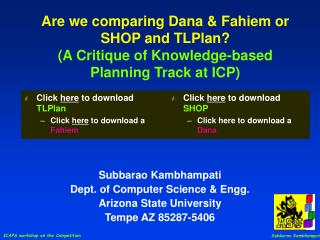 Are we comparing Dana  Fahiem or SHOP and TLPlan A Critique of Knowledge-based Planning Track at ICP