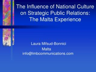 The Influence of National Culture on Strategic Public Relations: The Malta Experience