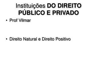 Institui  es DO DIREITO P BLICO E PRIVADO