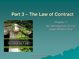 Part 3   The Law of Contract