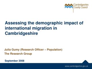 Assessing the demographic impact of international migration in Cambridgeshire