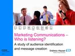 Marketing Communications    Who is listening