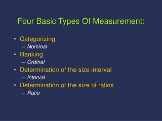 Four Basic Types Of Measurement: