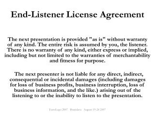 End-Listener License Agreement