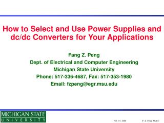 How to Select and Use Power Supplies and dc