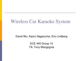 Wireless Car Karaoke System