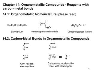 Chapter 14: Organometallic Compounds - Reagents with carbon-metal bonds  14.1: Organometallic Nomenclature please read