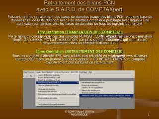 Retraitement des bilans PCN  avec le S.A.R.D. de COMPTAXpert