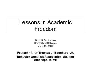 Lessons in Academic Freedom