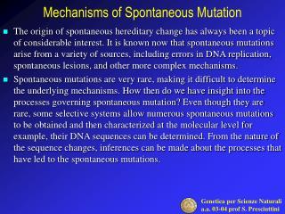 Mechanisms of Spontaneous Mutation