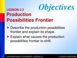LESSON 2.2 Production  Possibilities Frontier