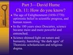 Part 3 David Hume  Ch. 11: How do you know