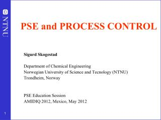 PSE and PROCESS CONTROL