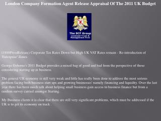 London Company Formation Agent Release Appraisal Of The 2011