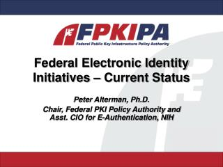 Federal Electronic Identity Initiatives   Current Status