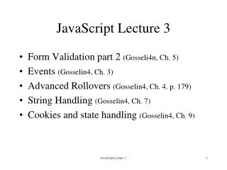 JavaScript Lecture 3