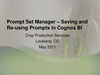 Prompt Set Manager   Saving and Re-using Prompts in Cognos BI