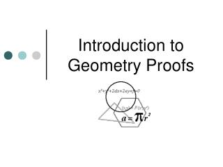 Introduction to  Geometry Proofs