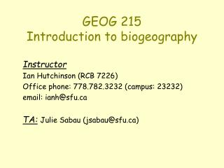 GEOG 215 Introduction to biogeography