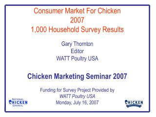 Consumer Market For Chicken 2007 1,000 Household Survey Results   Gary Thornton Editor WATT Poultry USA  Chicken Marketi